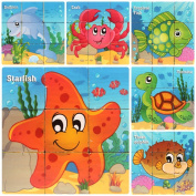 HLJgift Wooden Sea Animals Cube Block Puzzle for Kids, Toddlers, Preschool Age | 6 Barnyard Puzzles in One | Educational Toy 3 Year Olds & Up