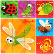 HLJgift Wooden Insects Animals Cube Block Puzzle for Kids, Toddlers, Preschool Age | 6 Barnyard Puzzles in One | Educational Toy 3 Year Olds & Up