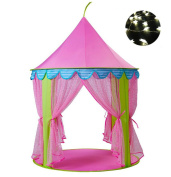 Steegic Pop Up Princess Castle Kids Play Tent, Anti-Mosquito Kids Playhouse with Led Light-Pink