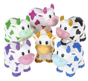 Two Dozen Colourful Rubber Cows 5.1cm Long by RINCO