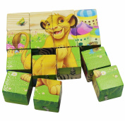 KINGSEVEN Wooden Cube Pattern Blocks Animal Jigsaw Puzzles Toddler Toys