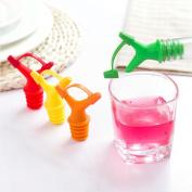 Pack of 5 Double Oil Bottle Mouth Stopper Plastic Sauce Bottles Nozzle Caps Wine Stopper,Random Colour