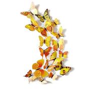 JMHWALL 12PCS 3D PVC Magnet Butterflies DIY Wall Sticker Home Decor for Kids Room Stickers ,Yellow