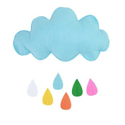 JMHWALL Kids Play Tent Decoration Tent Props Toy Raining Clouds Water Drop/Star Moon Baby Bed Room Hanging Decor Wall Stickers ,Blue