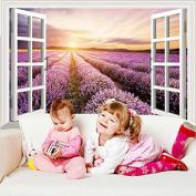 JMHWALL Purple Provence Lavender Window Scenery 3D Wall Sticker Vinyl DIY Mural Art for Kids Room Living Room Decoration