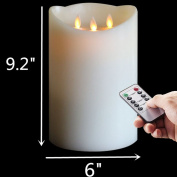 """9.2""""Huge Dancing Wick Battery Operated Wax Pillar Candle with Timer , Ivory"""