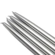 25cm Metallic Silver Taper Candles