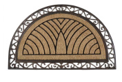 A1 Home Collections Hand-Crafted Elegant Half-Round Rubber & Coir Double Doormat