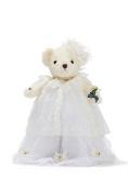 Bride Teddy Bear in Maxi Dress Wedding Stuffed Animal on Doll Stand Plush Toy 30cm