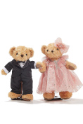 Wedding Teddy Bears Just Married Bear Couple Newlyweds on Doll Stands Toy Set 30cm