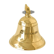 Nautical Cove Solid Brass Ships Bell 8.9cm Tall and Wall Mountable - Clear Ring for Indoor and Outdoor Use