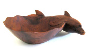 Hand Carved Wooden Dolphin Decorative Fruit Bowl Centrepiece Dolphin Statue - 30cm - OMA BRAND