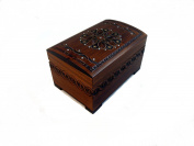 Large Polish Wooden Chest Handmade Floral Jewellery Keepsake Box with Lock and Key