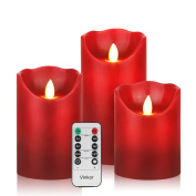 Vinkor Flameless Candles Flickering Candles Burgundy Red Colour Decorative Battery Flameless Candle Classic Real Wax Pillar With Dancing LED Flame & 10-key Remote Control 2/4/6/ 8 Hours Timers