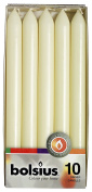 Bolsius Pack of 10 Ivory Dinner Table Candles 25cm