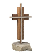 The Unity Cross Rustic Steel and Weathered Solid Black Walnut