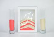 Sand Ceremony Set monogram H- Shadow Box Wedding Sand Ceremony Set - Unity Sand Ceremony Set - Beach Wedding Decor - Unity Candle Set - Sand Set