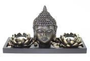 Tabletop Zen Buddha Head Lotus Tea Light Candle Holder Home Decor Relaxing Gift