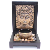 Tabletop Bronze Empaistic Buddha Face Zen Garden with Rock Candle Holder Gift & Home Decor US Seller
