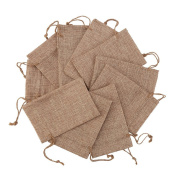 DECORA 50 Pieces 10cm x 15cm Burlap Jute Bags With Drawstrings Gift Bag Jute Hessian Packing Storage Linen Jewellery Pouches Sacks for Wedding Party
