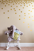 Posh Dots Metallic Gold Circle Stickers for Festive Wall Decor Baby Nursery Kids Room Trendy Cute Fun (200 Decals) Vinyl Removable Round Polka Dot Decals Safe for Wall Paint Confetti