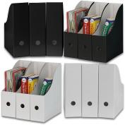 Simple Houseware White / Black Magazine File Holder Organiser Box
