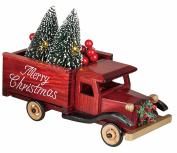 LED Light-up Merry Christmas Wooden Truck with Lighted Bottle Brush Christmas Tree Holiday Decoration