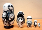 """Russian nesting Doll """"The Nightmare before Christmas"""" Jack Skellington. Set of 5 piece. Hand-painted in Russia."""
