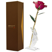 Deep Pink Gold Rose, DEFAITH 24K Gold Trimmed Long Stem Real Rose with Moon-shape Rose Stand. Last a Lifetime. Best Anniversary Gift.
