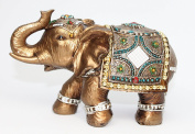 Feng Shui Brass Colour 15cm Elegant Elephant Trunk Statue Wealth Lucky Figurine Home Decor Gift US Seller