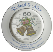 Personalised Bone China Commemorative Plate For A 60th Wedding Anniversary - Wedding Bells Design With 2 Silver Bands