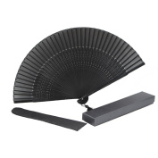 K.MAX Bamboo Wood Silk Folding Fan, Chinese /Japanese Vintage Retro Style Handmade Silk Black Hand Fan with a Fabric Sleeve and Tassels for Home Decoration Party Wedding Dancing Easter Gift