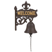 "Cast Iron Bell - ""Welcome"" Entry Door Bell, Antique Doorbell for Decoration, Front Door, Interior, Exterior Decor, Black - 6.7 x 23cm x 2cm"