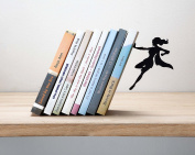 """Artori Design """"Supergal"""" Black Metal Female Superwoman Bookend, Unique Bookends, Gifts for Girls, Gifts for Book Lovers, Cool Book Stopper"""