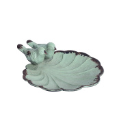 NIKKY HOME Decorative Jewellery Dish with Metal Distressed Bird and Leaf , 11cm x 11cm x 4.1cm , Green