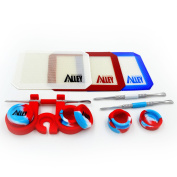 Carving Tool [Stainless Steel] (3) + Non-stick Red / White / Blue Rectangle Mat (3) + Wax Jars Containers of Tie Dye Colours (3) + Red Container Holder (1) [USA Edition]