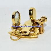 . VINTAGE STYLE SHINY GOLD BRASS SEXTANT PENDANT & POCKET GIFT