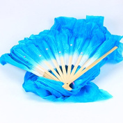 WHATWEARS 1.8m Colourful Belly Dancing Silk Bamboo Veils Dance Long Fans