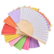 Grosun 9 Packs Multicolor Bamboo Folding Fan Handheld Fans Paper Folded Fan for Wedding Party and Home Decoration