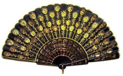 Beautiful Lady's Silk Hand Fan with Golden Sequins by Estone
