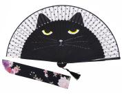 Amajiji Women Lovely Black Cat Folding Silk Fan Handheld Fan for Wedding, Dancing, Church, Party, Gifts