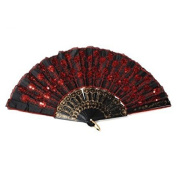 Liroyal Peacock Pattern Sequin Fabric Hand Fan Decorative Fashionable