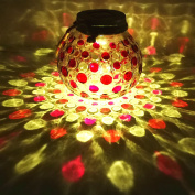 Sogrand Solar Lights,Glass Jar Lights,Red Outdoor Decorations,Garden Decor,for Party,Patio,Yard,Landscape