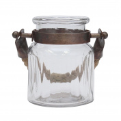 Stonebriar SB-5949A Farmhouse Small Glass Ribbed Jar with Copper Metal Trim