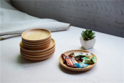 Miyare Japanese Style Dessert Saucer, Round Wooden Small Dish for Afternoon Tea 1pcs