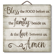 """Highland Graphics 30cm Inspirational Sign """"Bless the Food Before Us..."""" Family Wall Decor"""