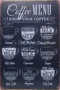 Coffee Menu Know Your Coffee, Metal Tin Sign, Wall Decorative Sign, Size 20cm X 30cm