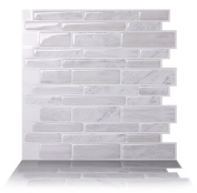Tic Tac Tiles Anti-mould Peel and Stick Wall Tile in Polito White