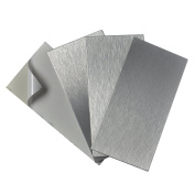 Art3d 4-Pieces Peel and Stick Stainless Steel Backsplash Tiles, 7.6cm x 15cm Brushed Metal