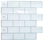 "Crystiles Peel and Stick Self-Adhesive DIY Backsplash Stick-on Vinyl Wall Tiles for Kitchen and Bathroom Décor Projects, Subway White, Item# 91010838, 10"" X 10"" Each, 4 Sheets Pack"